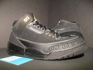 2011 Nike Air Jordan III 3 Retro BHM BLACK HISTORY MONTH GOLD CEMENT ... c94ea32d8ffc
