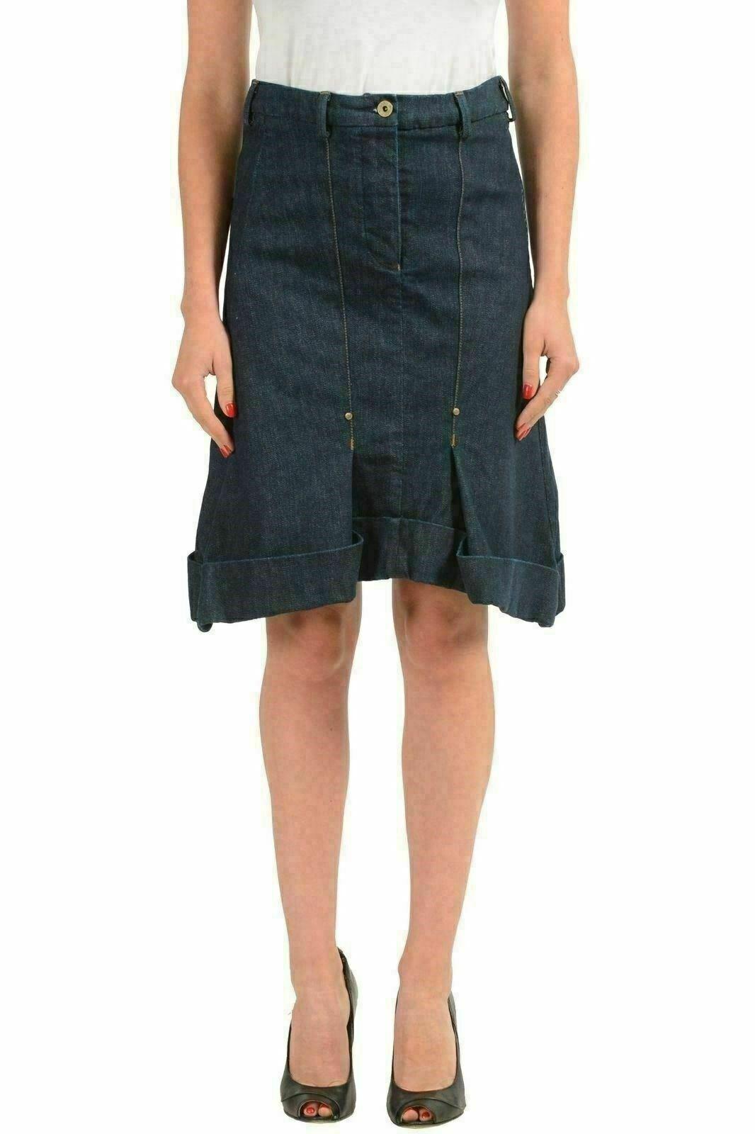Gianfranco Ferre GF Women's bluee Denim A-Line Skirt US 26 IT 40
