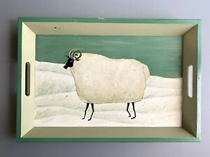 Vintage Decorative Painted Wood Folk Art Serving Tray Sheep Ram Country Design