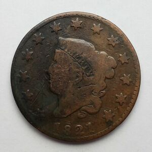 1821-Coronet-Matron-Head-Large-Cent-Good-Scratched