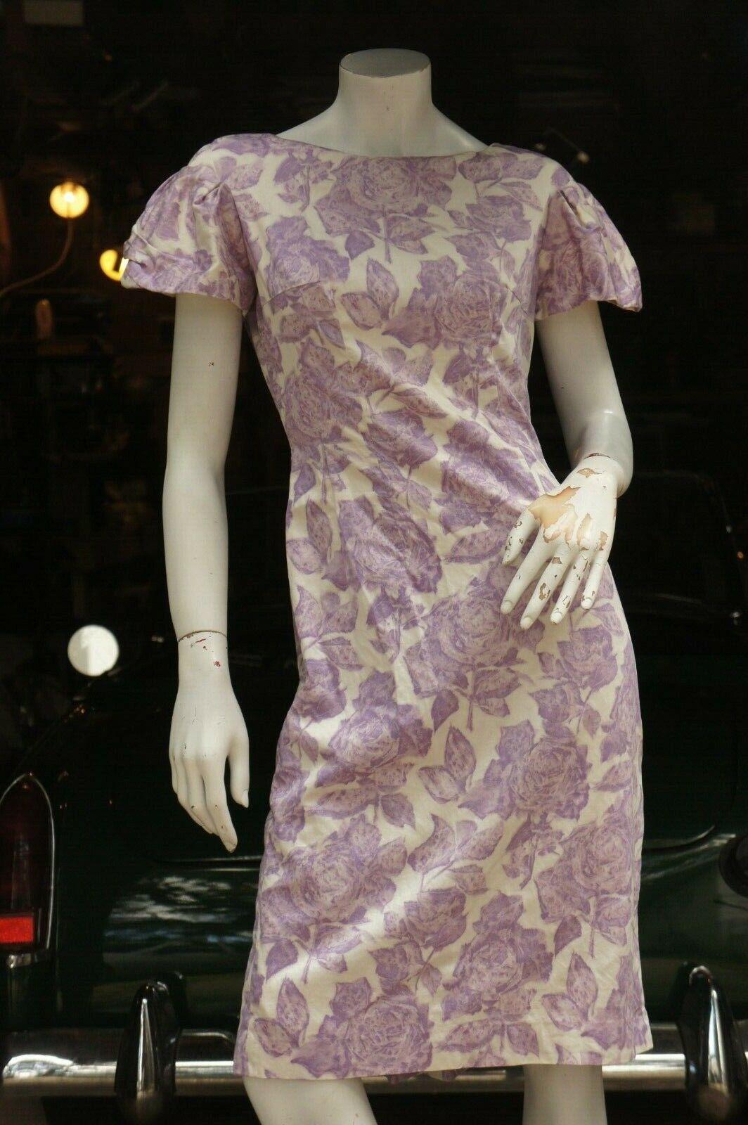 Vintage 50s Purple Floral Rose Print Dress Midi … - image 1