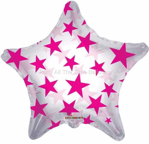 """2 pc 18/"""" Hot Pink Stars Clear Star Balloons Free Ship"""