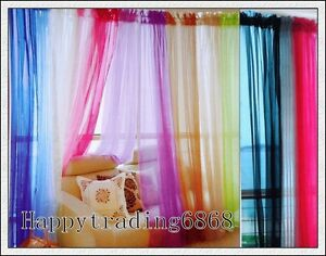A Pair Organza Sheer Curtains 150x213cm White Black Purple Gold Green Pewter Red Ebay