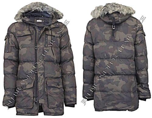 Giacca Invernale da Uomo Mimetica bolla Parka Mimetico Cappotto Stile Militare Cachi Nuovo