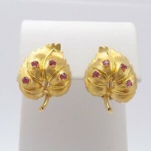 Vintage-18k-Gold-750-Italy-Natural-Ruby-Leaves-Omega-Back-Earrings