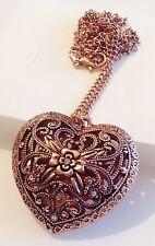collier pendentif coeur 3D filigrane cristal diamant couleur cuivre rouge 320