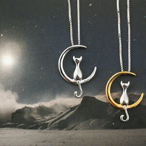 Details about lady simple silver plated cat on moon pendant animal clavicle chain necklace image is loading lady simple silver plated cat on moon pendant aloadofball Image collections