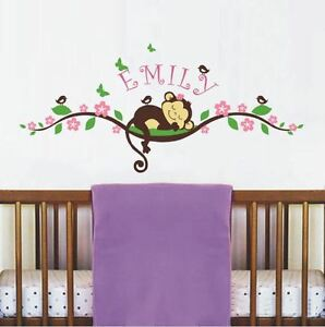 Image Is Loading Monkey Wall Decal For Nursery Room Decor Personalized