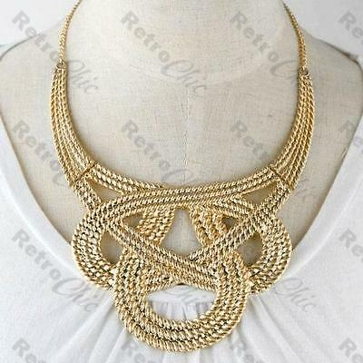 BIGGEST CHUNKY KNOT NECKLACE textured ROPE WEAVE collar GOLD PLTD large choker