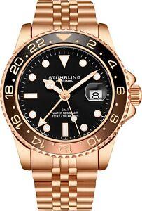 Stuhrling-Aqua-Diver-3968-Swiss-Quartz-Men-039-s-Rose-Bracelet-Black-Dial-Watch