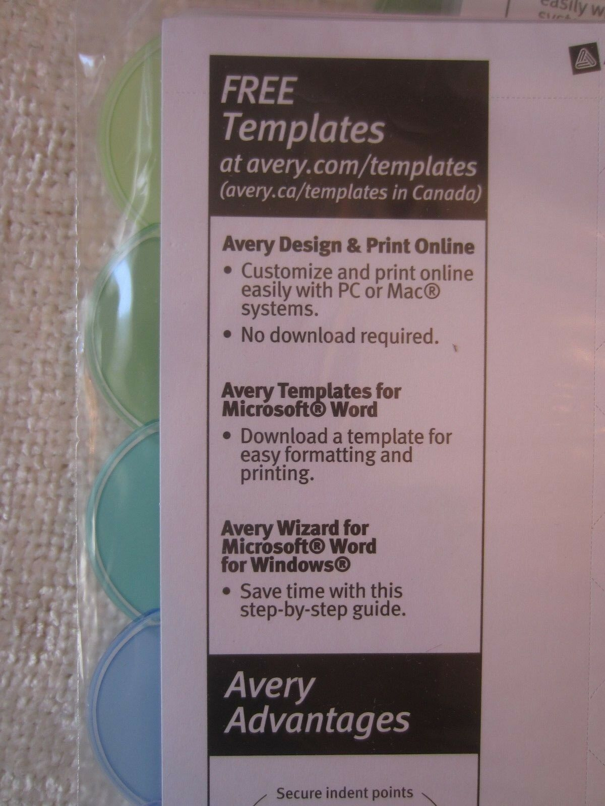 avery dennison ave 11201 style edge clear plastic insertable divider