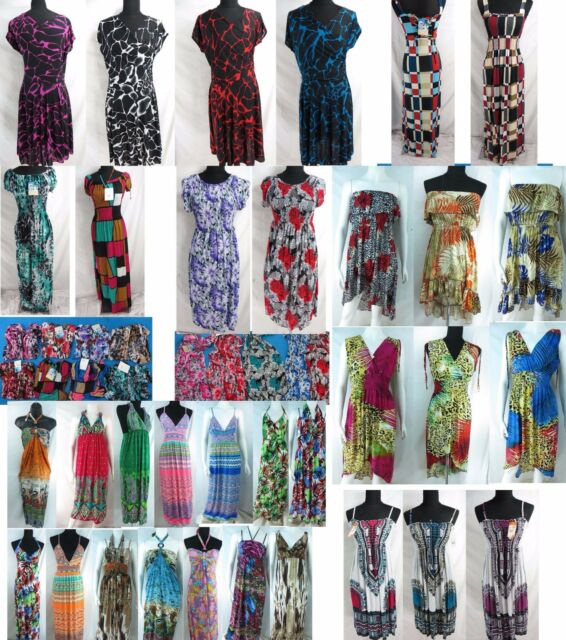 US SELLER-10 wholesale bulk lot retro dress resort wear casual women dresses