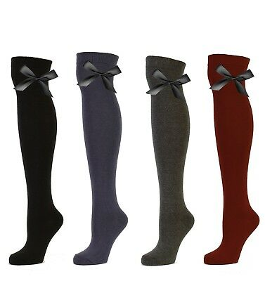 New Women's Girls Back 2 School Office Over The Knee Bow Detail Socks Uk 4-6.5