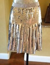 NWT BANANA REPUBLIC Sequin Pleated Skirt Silver Metallic City Grey J.Crew 6