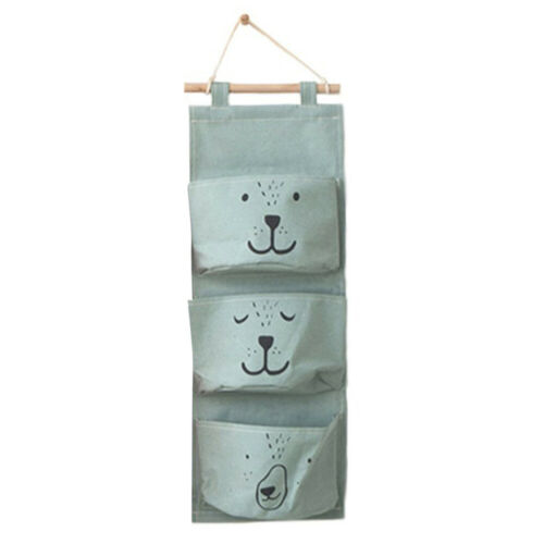 3 Pockets Wall Door Closet Home Hanging Storage Bag Linen Organizer Useful Pouch