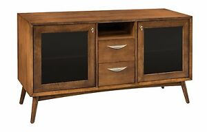 Amish Mid Century Retro Tv Stand Cabinet Solid Wood Glass Doors