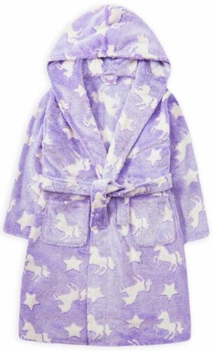 Filles licorne robe de chambre enfants Neuf à Capuche Robe de chambre en polaire Violet Âges 2-13 ans