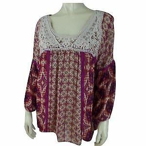 Bila-Blouse-Top-L-New-Womens-Fuschia-Rayon-Sheer-Pullover-India-Peasant-Lace