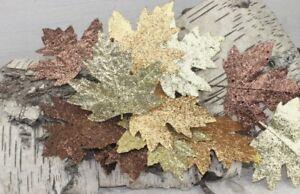 GISELA-GRAHAM-CHRISTMAS-GOLD-COPPER-BROWN-GLITTERED-LEAF-PICK-CRAFT-PACK-OF-4