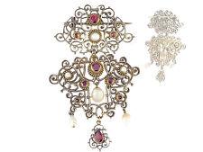 Siebenbürgen Silber Almandin Natur Perlen Trachten Anhänger Brosche um 1860