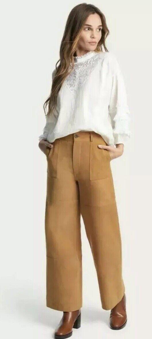Kvinnors Frye Nadia bred Leg Cropped mocka läder Pants Storlek 25 ny Tan  695