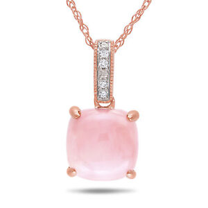 Amour 10k Rose Gold Pink Opal and Diamond Accent Necklace