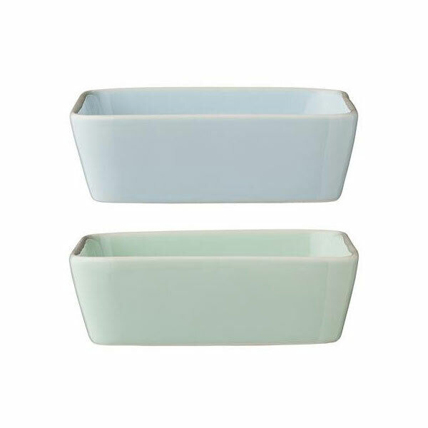 Set of 2 Blue & Mint Rectangular Olivia Serving Bowl by Bloomingville