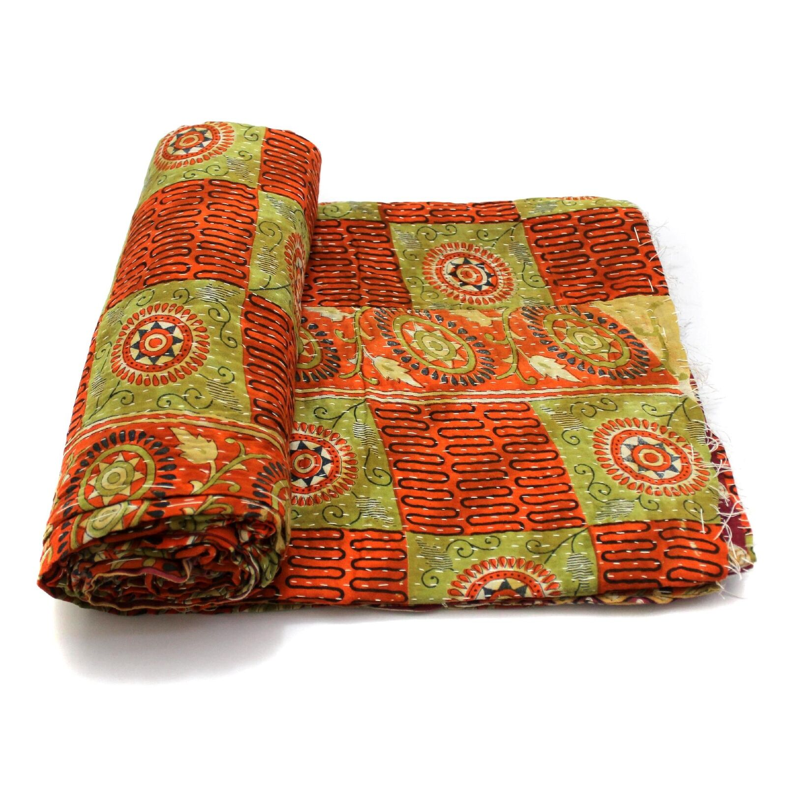 Vintage Kantha Quilt Indian Handmade Cotton Bedspread Couch Cover Bedding Throw