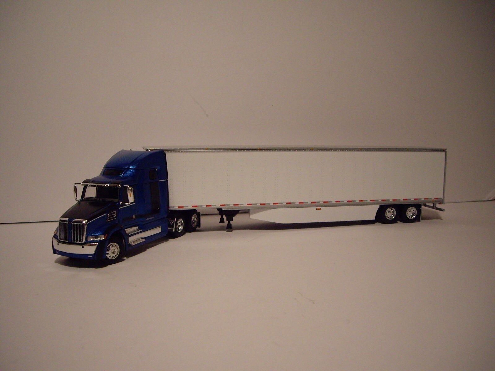 DCP 1 64 Azul y Negro Western Estrella 5700XE con T 68  durmiente y Dry Van Trailer