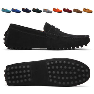 Men-Casual-Driving-Loafers-Suede-Leather-Moccasins-Slip-On-Penny-Shoes-Plus-Size