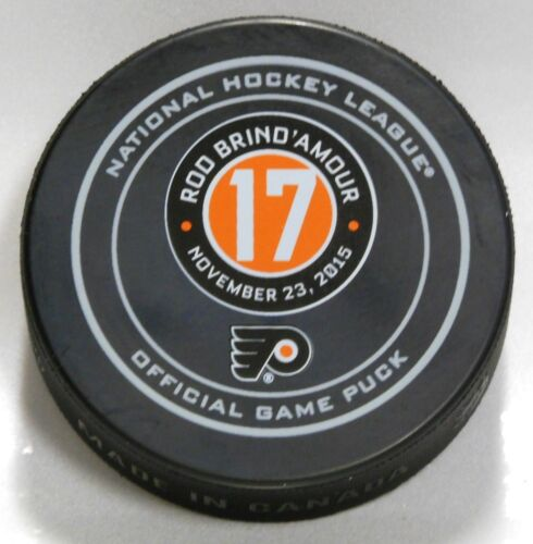 ROD BRIND/'AMOUR #17 RETIREMENT PHILADELPHIA FLYERS OFFICIAL GAME PUCK 9900473