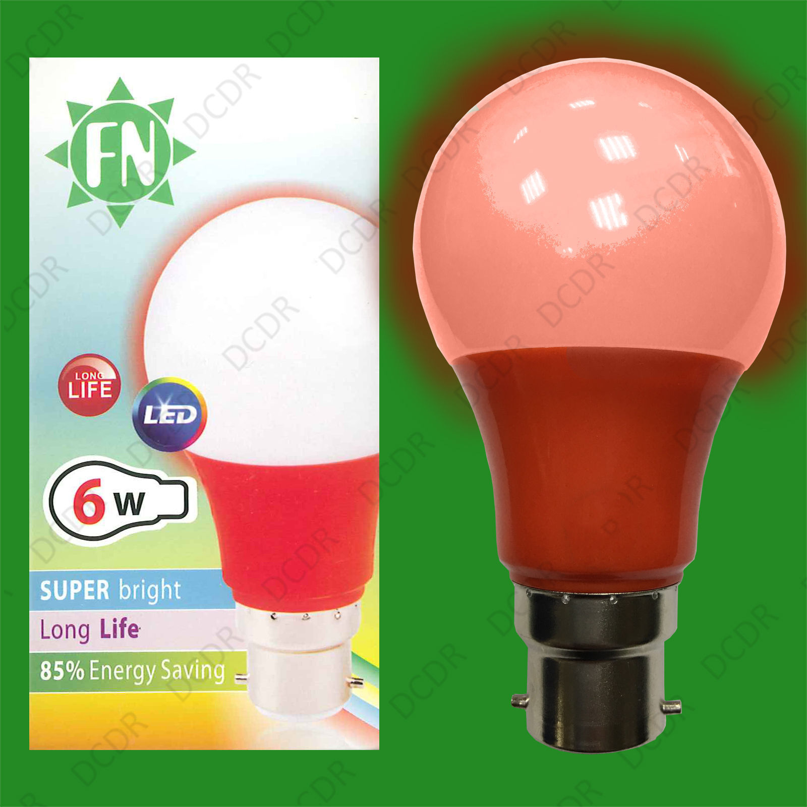 6x 6W LED Red Coloured GLS A60 Light Bulb Lamp BC B22, Low Energy 110 - 265V