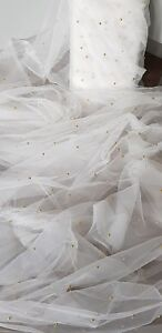 59ebb2ab4597e Image is loading 1M-IVORY-GOLD-PEARLS-BEADED-BRIDAL-TULLE-FABRIC-