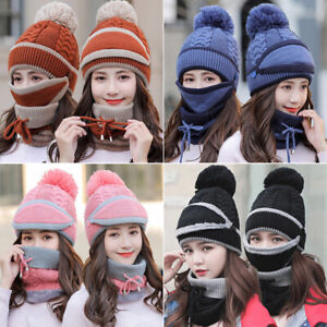 Women-Knitted-Beanie-Scarf-Cable-Hat-Face-Mask-3pcs-Snood-Neck-Winter-PompoQ6Q