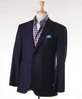 $1795 Oxxford 1220 Extrafine Solid Navy Blue Wool Blazer Us 52 R Sport Coat