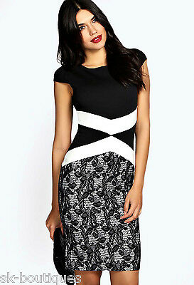 BOOHOO HEIDI BLACK WHITE MONOCHROME LACEFLOCKED BODYCON MIDI DRESS 8 10 12 14 16
