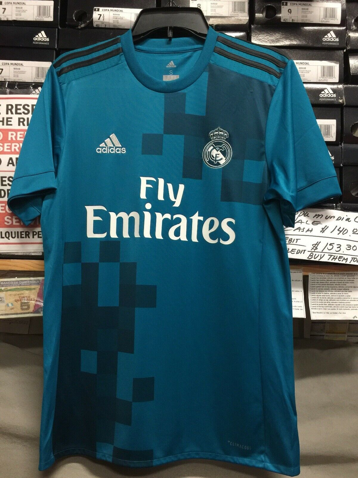 adidas Real Madrid 3rd 2017-18 Soccer Jersey Teal Dark Blue Size S ...