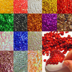 1400-Pailletten-6mm-gewoelbt-21-verschiedene-Farben-Konfetti-Basteln