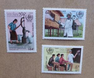 1988-LAOS-40TH-ANNIV-WORLD-HEALTH-ORGANISATION-SET-3-OF-MINT-STAMPS-MNH