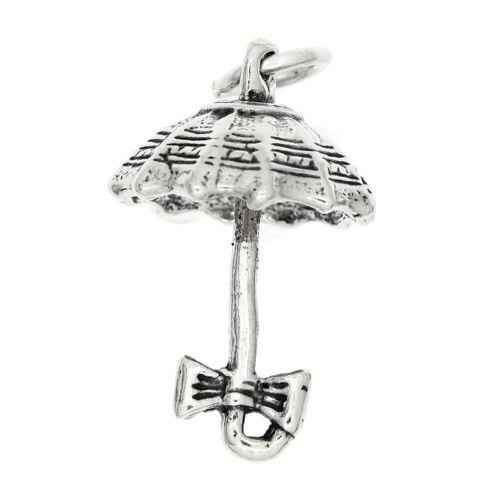 Sterling Silver Cute Open Umbrella Charm Pendentif