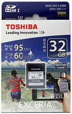 TOSHIBA EXCERIA 32GB SD SDHC UHS-I U3 95MB MEMORY CARD 4K Ultra HD 32G CLASS 10