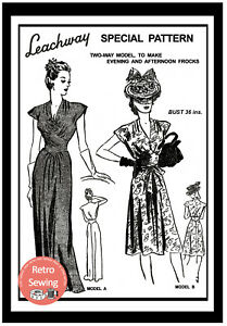 1940s-Wartime-Cocktail-or-Evening-Dress-Sewing-Pattern-Copy
