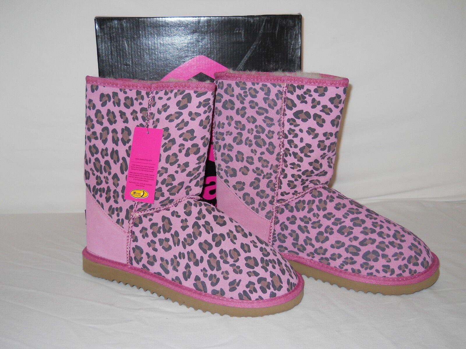Ukala New Donna Ally Pink Cheetah Wool Stivali 10 M Shoes