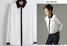 Classic Lapel Black/White Handsome Women Long Sleeve Button Down Shirt Size M