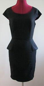 Portmans-Black-Peplum-Pencil-Dress-Size-8