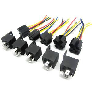 5 PCS 12 Volt 30/40A SPDT Relay + Wire Socket Car Automotive Alarm  Pin Amp Volt Relay Wiring on