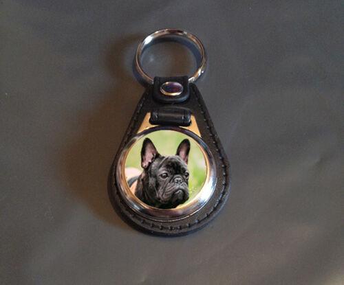 Dog Faux Leather Backed 25mm medallion Key ring French Bulldog Gift
