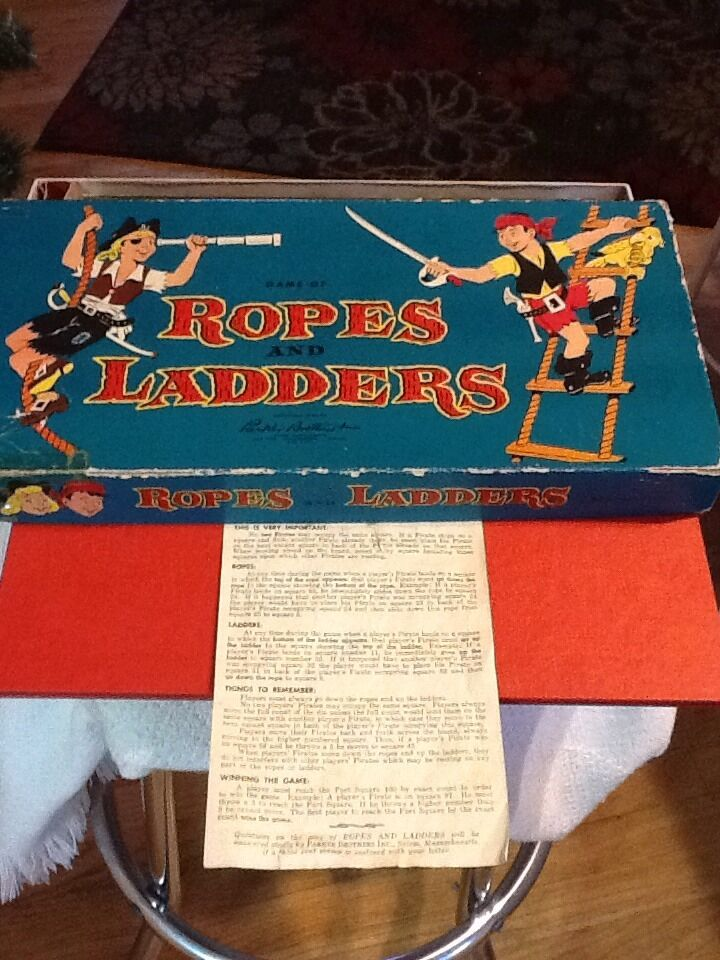 Vintage Board Game ROPES and LADDERS Shutes 1954 Parker Bredhers