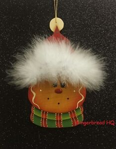 HP gingerbread wooly winter hat wooden christmas ornament hand painted