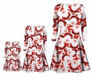 Enfants Filles Tartan Imprimé à Manches Longues Swing Robe Patineuse Enfant Plain Imprimé Robe